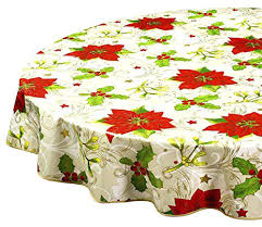 60in round table cloth round tablecloths tablecloths vinyl table cloth table linens poinsettia inch kitchen dining 60in round table cloth
