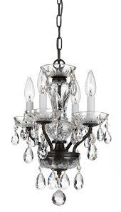crystorama traditional italian crystal 4 light bronze mini chandelier