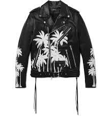 amiri embellished hand painted vitellino leather biker jacket