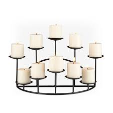 pretty 10 candle metal fireplace candelabra in black for home decoration ideas