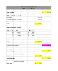 Bank Reconciliation Template Bank Reconciliation Example 7 Samples In Word Pdf Excel