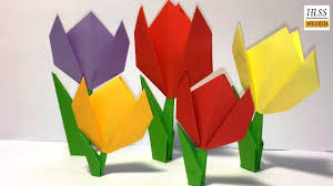 Easy Paper Origami Flower Easy Paper Tulip Origami Flower Simple Tutorial For Beginners Step By Step