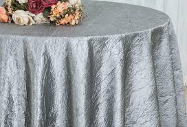 silver 120 round crushed crinkle taffeta tablecloths