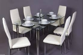 glass dining room table with leather chairs. glass dining room table set and 6 faux white leather chairs   furniture maxi with