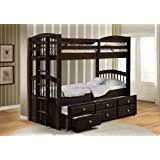 ACME Furniture 40000 Micah Bunk Bed with Trundle and 3 Drawers Espresso  Twin over Twin