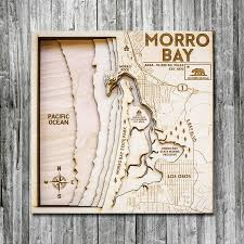 morro bay ca wooden map in 3d