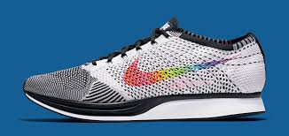 nike flyknit. the \u201cbe true\u201d nike flyknit racer is due out on june 1st (at start of pride month) for a retail price $150.