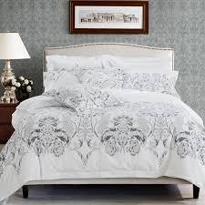 fl leaf print bed linen white color hotel bedding set twin queen king size bedclothes modern style duvet cover bed sheet set bedding sets full