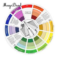 Colour Mixing Chart For Artists Magideal Round Color Mixing Guide Wheel For Paint Matching Pigment Blending Palette Chart Art Salon Tool Microblading