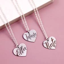 bespoke name necklace on sterling silver heart