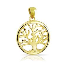 family tree life pendant round necklace 14k gold plated sterling silver in dia trade me