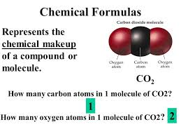 chemical formulas represents the chemical makeup of a pound or molecule co2 how many
