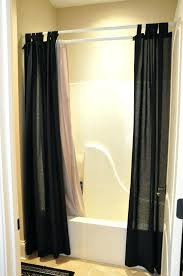 smlf awesome double extra long shower curtain liner with white rod on cream wall pus for bathroom