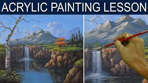 acrylic landscape painting tutorial the waterfall in the cliff step by step real time by jm lisondra