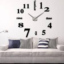 modern diy wall clock creative large watch decor stickers set mirror effect acrylic glass decal home