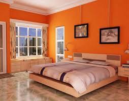 Orange Bedrooms Minimalist Interior Design With Modern Plywood Headboard Bedroom