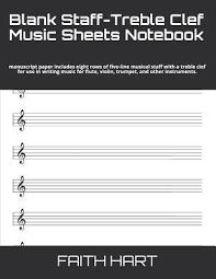 Muscial Staff Blank Staff Treble Clef Music Sheets Notebook Manuscript