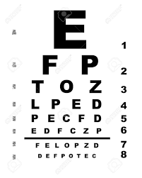 Eye Test C Chart A Typical Opticians Eye Test Chart Over A White Background