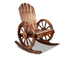 wooden rocking chair wagon wheel outdoor rocker canadian fir wood brownby megasavercolor brown