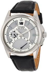 citizen eco drive men s watches 145 99 for citizen men s eco drive watch black leather strap band white dial silver bezel 275 list price