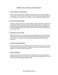 8th Grade Essay Prompts Middle School Narrative Essay Prompts Writing Prompt For 5th