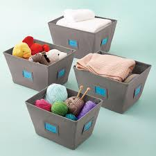 Grey Open Canvas Storage Bins with Labels ...