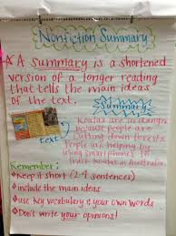 Summarizing Nonfiction Text Anchor Chart Www