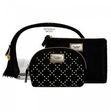 victoria s secret black studded cosmetic bag trio