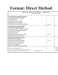 Template For Statement Of Cash Flows Direct Cash Flow Statement Template