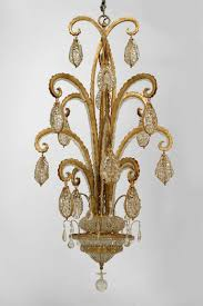 modern gilt metal and beaded glass octopus chandeliers in the manner of
