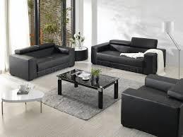 Leather Living Room Sets Black Bonded Leather Elegant Modern 3pc Living Room Set
