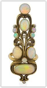 art nouveau opal diamond gold index finger ring k american  art nouveau opal diamond gold index finger ring 14k american ca 1905