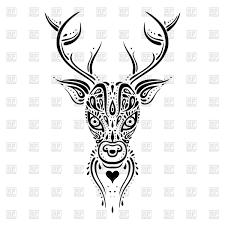 Deer Head Ethnic Tribal Ornament Tattoo Tracery Stock Vector Image