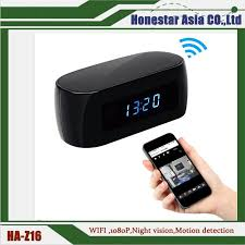 new launched 1080p wifi alarm clock night vision mini also with motion detection function wifi clock 1080p clock cmaera