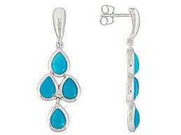 blue sleeping beauty turquoise sterling silver chandelier earrings