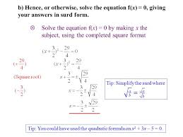 solve the equation f x 0 by making x the subject