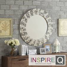 Foyer INSPIRE Q Palmer Frosted Tile Silver Finish Round Accent Wall Mirror  | Overstock.com