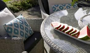 monterey 140cm round table 60cm lazy susan 6 armchairs parasol