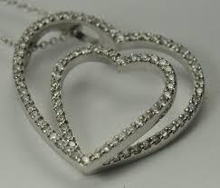 14k 18k white gold diamond heart pendant 1 00cts tdw vs si h i length 19
