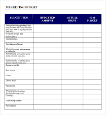 sample business budgets marketing budget template