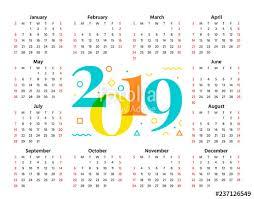 2019 Calendar Horizontal 2019 Calendar Vector Week Starts Sunday In Minimal Style