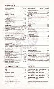 Michoacán Mexican Restaurant Menu.