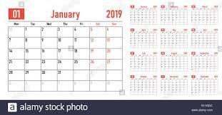 12 Week Calendar Template Calendar Planner 2019 Template Vector Illustration All 12