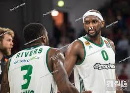 Athen's Chris Singleton (r) and teammember K.C. Rivers chatting during the  Euroleague Basketball..., Stock Photo, Picture And Rights Managed Image.  Pic. PAH-85129889