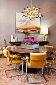 modern dining room decor ideas modern dining room decor with flower box and contemporary pendant lighting and round table and arm side chairs with