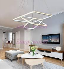 square double glow led chandeliers modern led pendant lights aluminum white hanging chandelier for dining kitchen room high brightness copper pendant