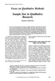 sample size in qualitative research margarete sandelowski research in nursing health 1995 18 179 1 83 focus on