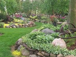 100_1666 Landscape Design, Landscaping,Gardens, Shade Garden, Hostas,  Perennials, Rock