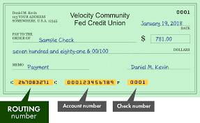 velocity community fed credit union routing number example