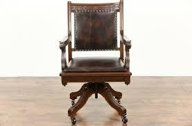 victorian office furniture. Victorian Eastlake 1890 Antique Walnut Swivel Desk Chair, New Leather Office Furniture